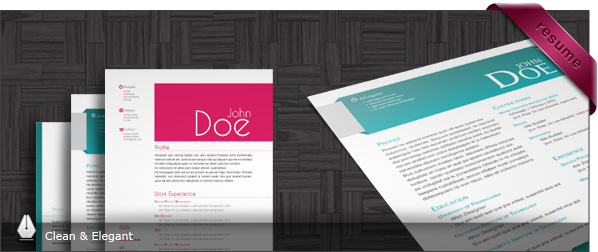 3 CV/Resumes Templates: Clean & Elegant