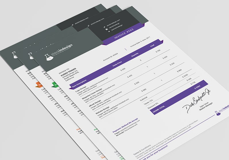 template invoice indesign  Clean Invoice Template | StockInDesign
