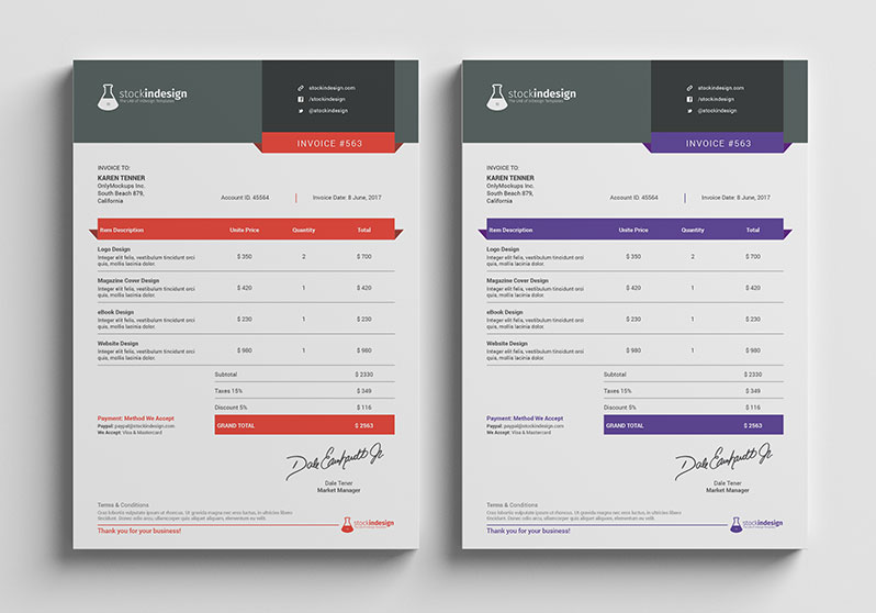 Clean Invoice Template StockInDesign - Invoice design template