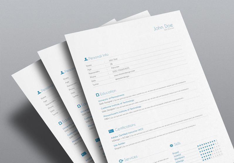 Free InDesign Resume Cv Template  Resume Templates Indesign