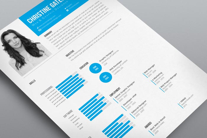 indesign clean resume template