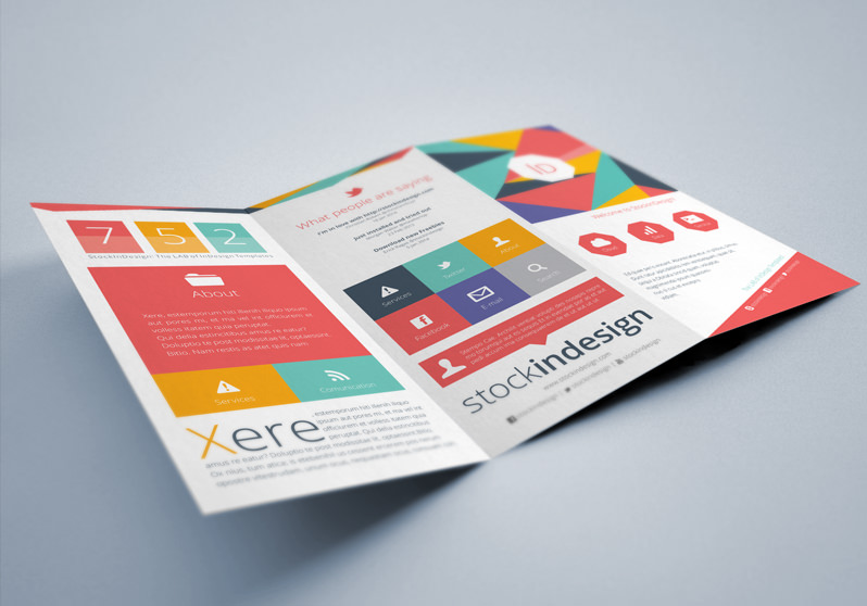 Flat Trifold Brochure StockInDesign - Brochure template tri fold