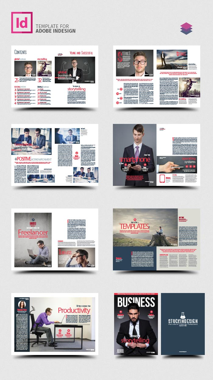 Business magazine template stockindesign for Adobe indesign magazine templates free download