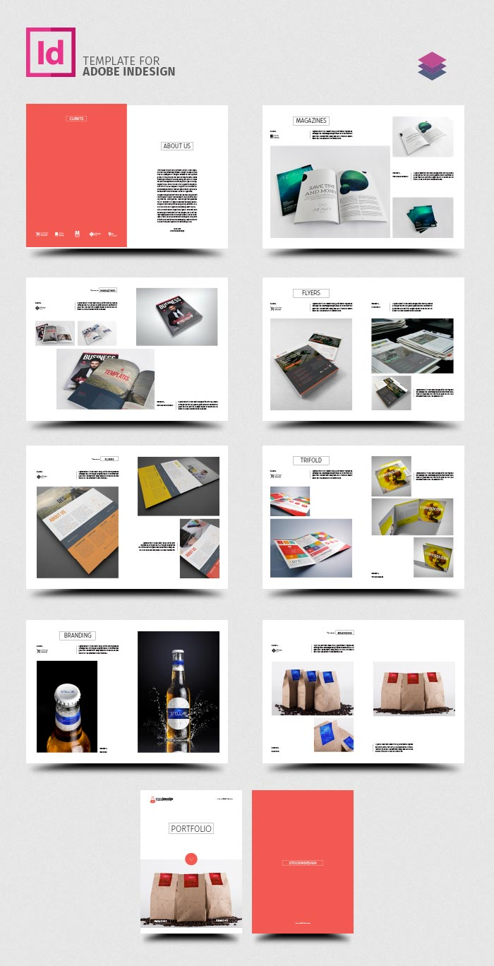 Clean product catalog stockindesign for Free product brochure template