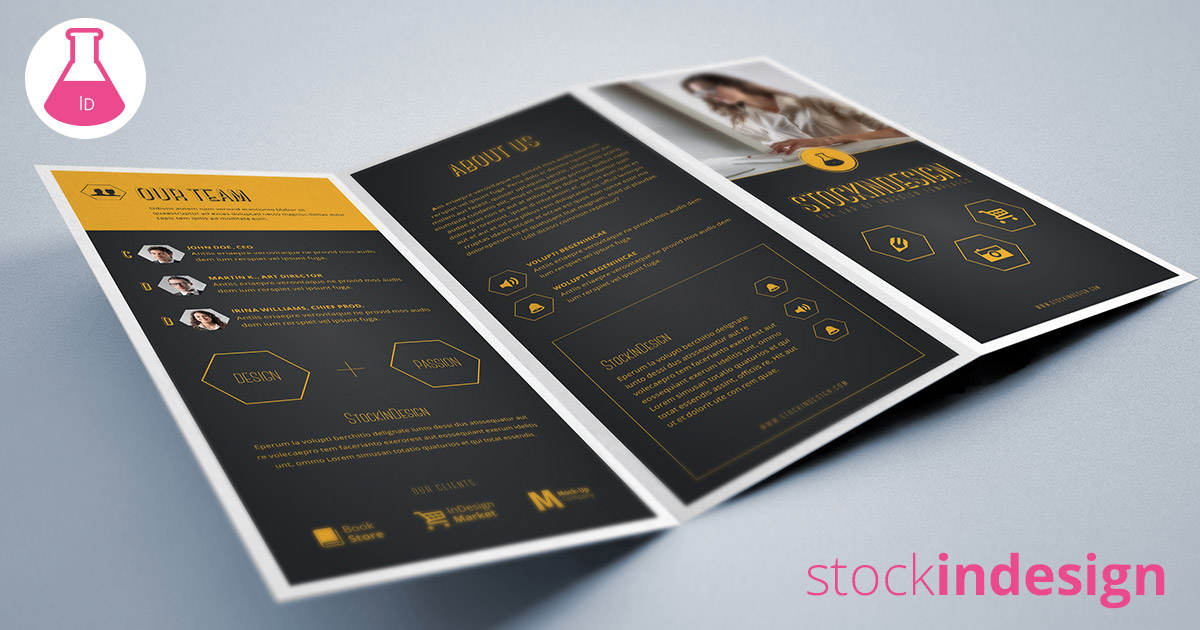 Trifold corporate brochure stockindesign for Stock indesign