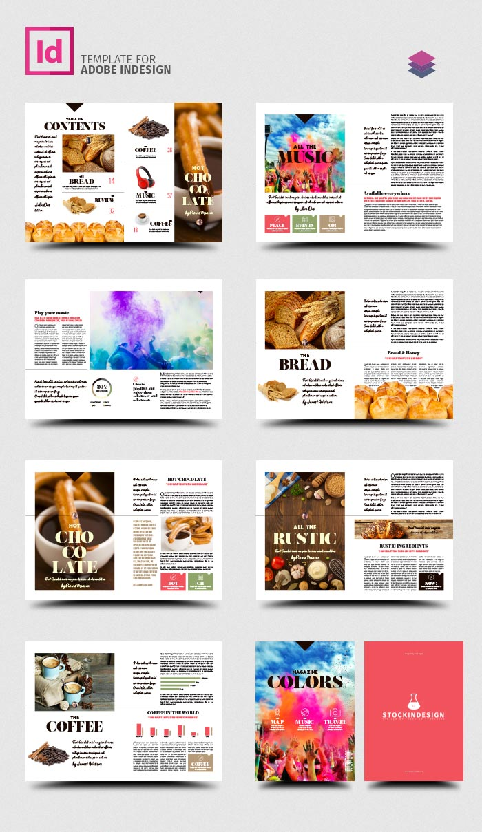 Colors magazine template stockindesign for Magazine layout templates free download