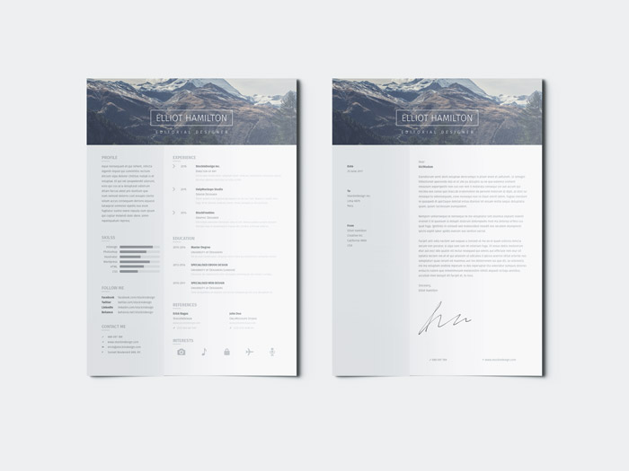 Page Resume Template + Cover Letter