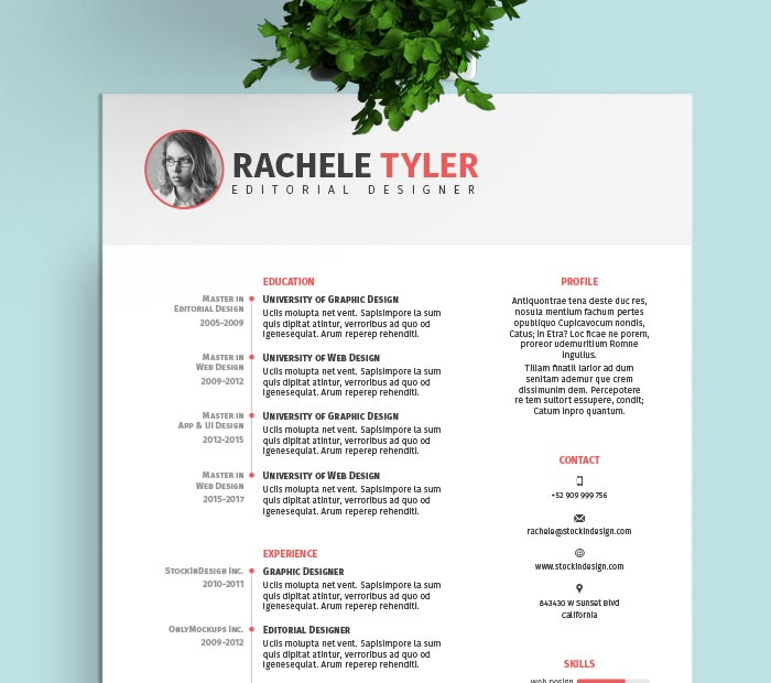 Resume Templates Indesign Awesome Free Indesign Resume Template  Stockindesign