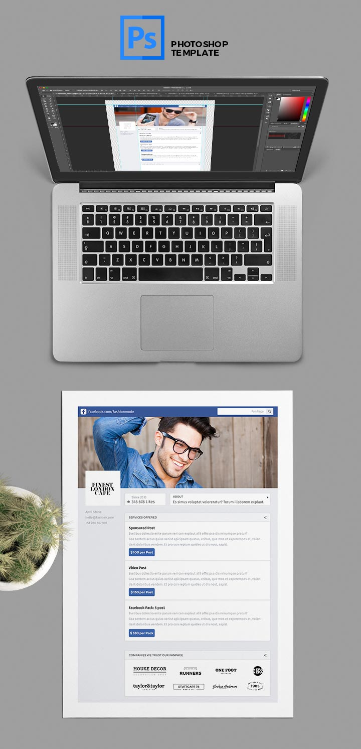 FREE Social Media Kit: FanPage – PSD