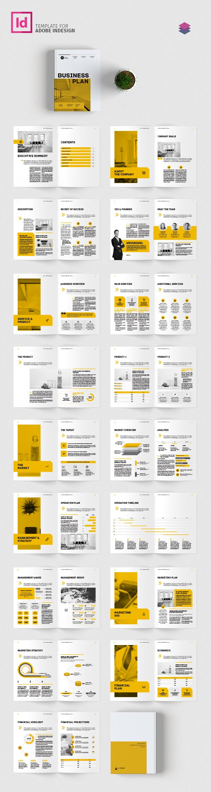 Business Plan Template Adobe InDesign Template - Business plan template indesign