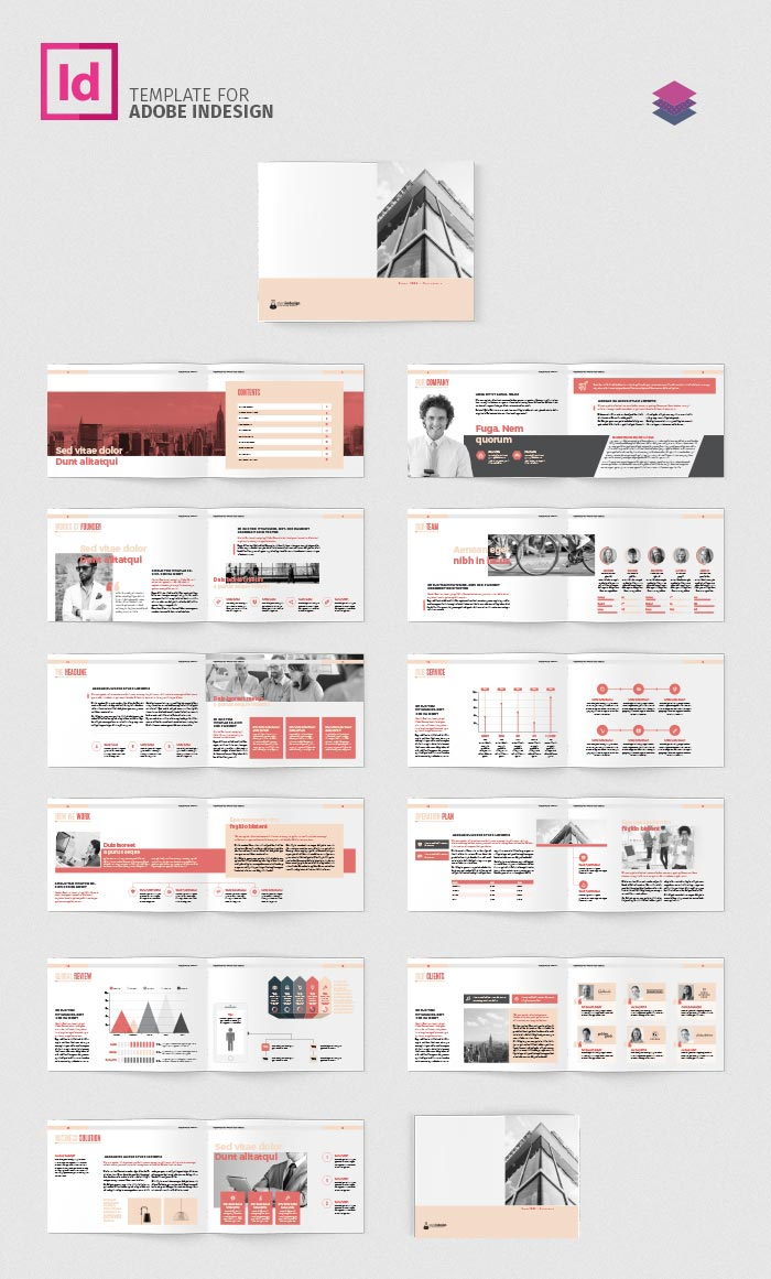 company profile landscape template adobe indesign template. Black Bedroom Furniture Sets. Home Design Ideas