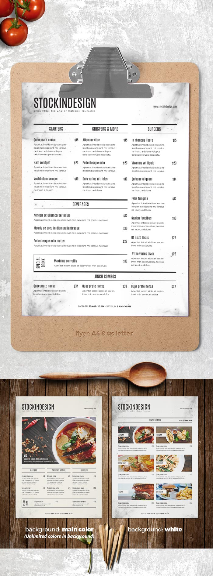 food menu template adobe indesign templates for restaurants. Black Bedroom Furniture Sets. Home Design Ideas