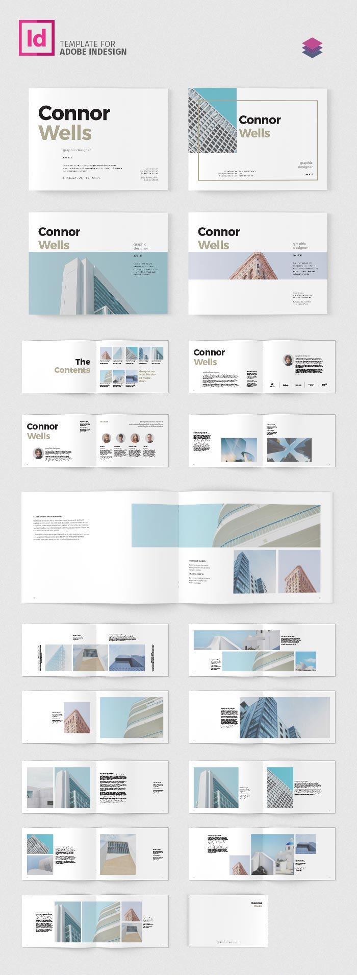 Portfolio booklet landscape adobe indesign templates for Adobe indesign magazine templates free download