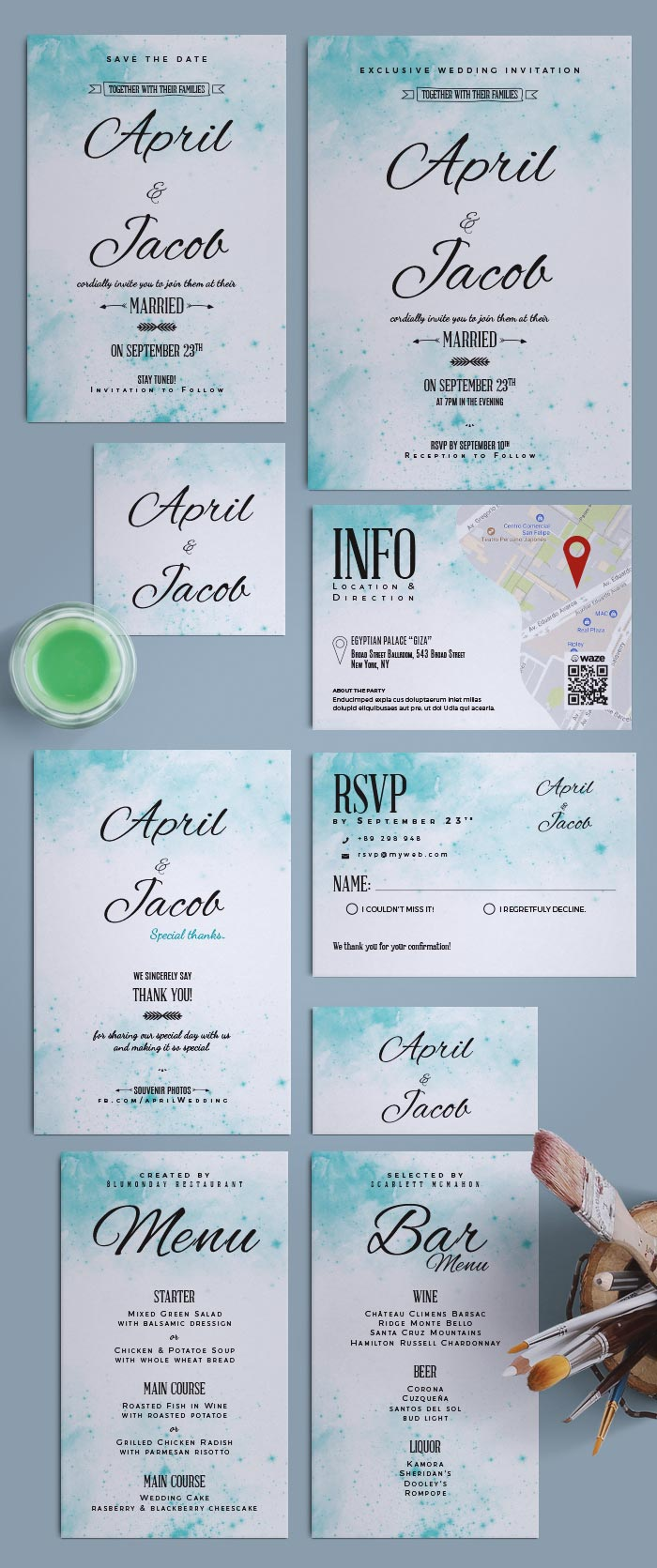 Watercolor Wedding Suite | Invitation InDesign Template for Wedding