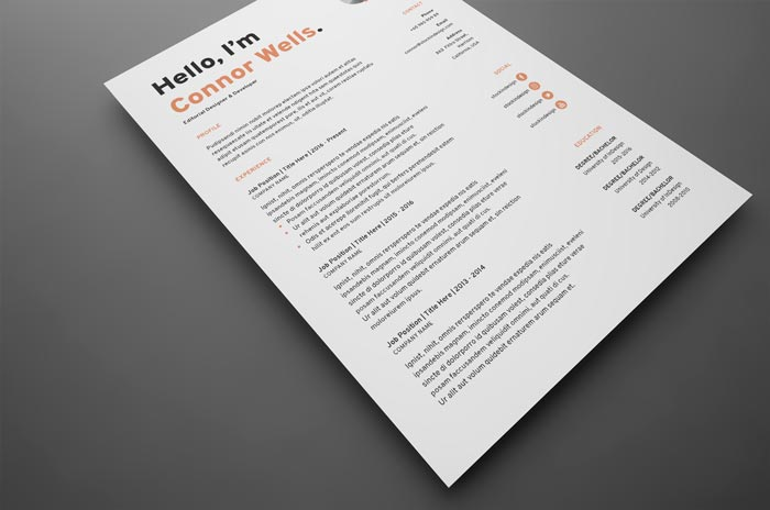 Free Resume Template / CV in Adobe InDesign
