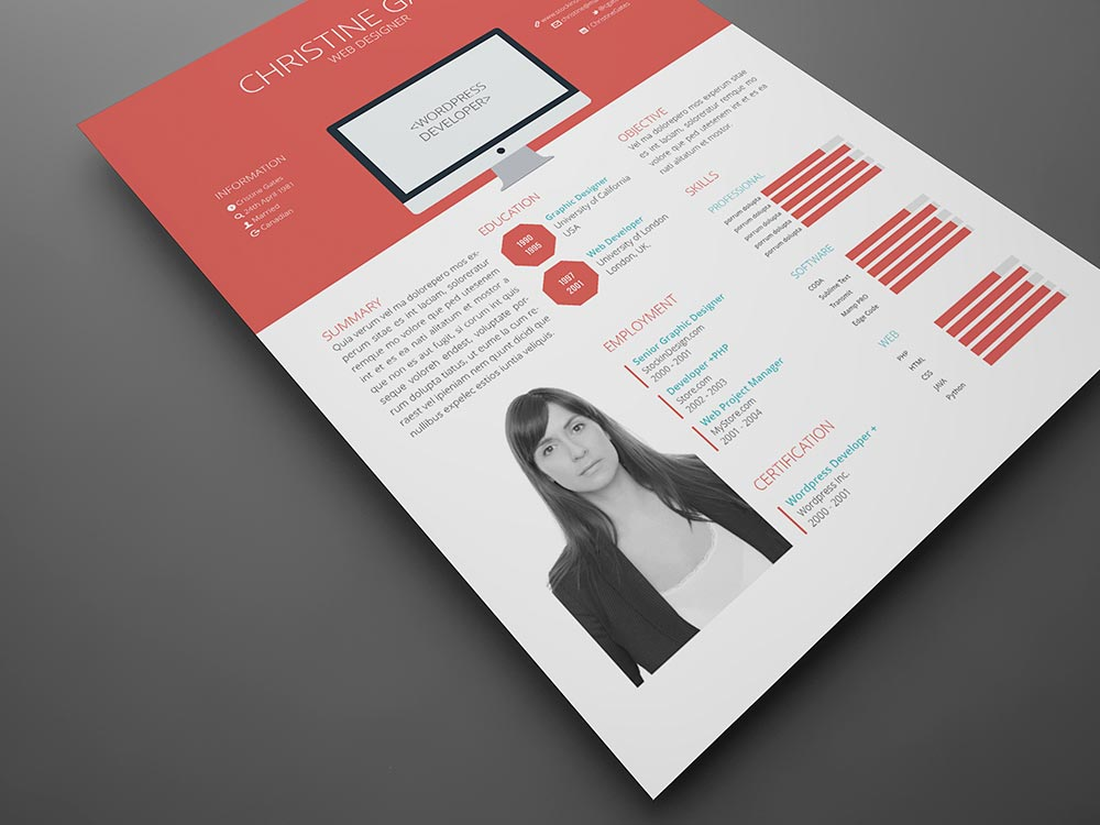 Free Flat Resume Template Stockindesign