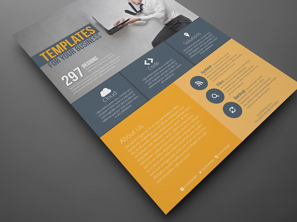 Flat Corporate Flyer Template  Stockindesign