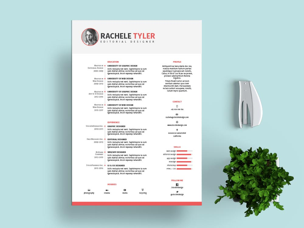 Free Indesign Resume Template  Stockindesign