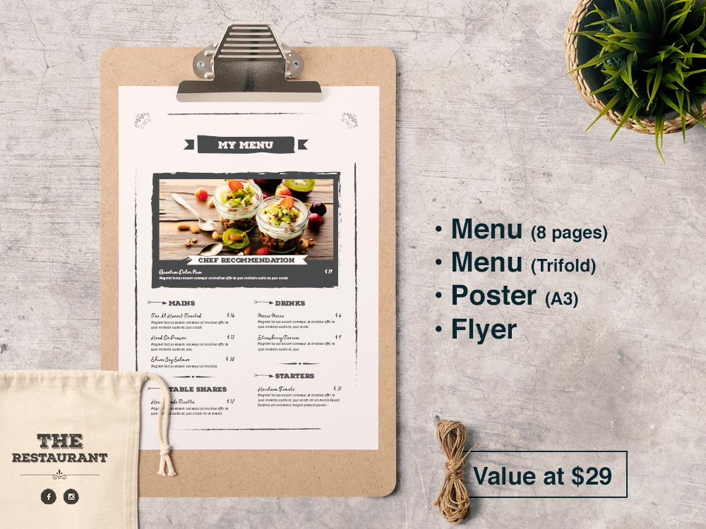 Bundle 2: Restaurant Food Menu