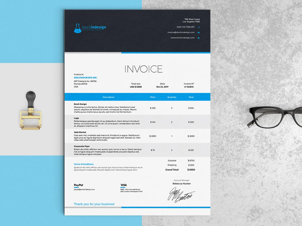 Elegant Invoice Template InDesign Template - Corporate invoice template
