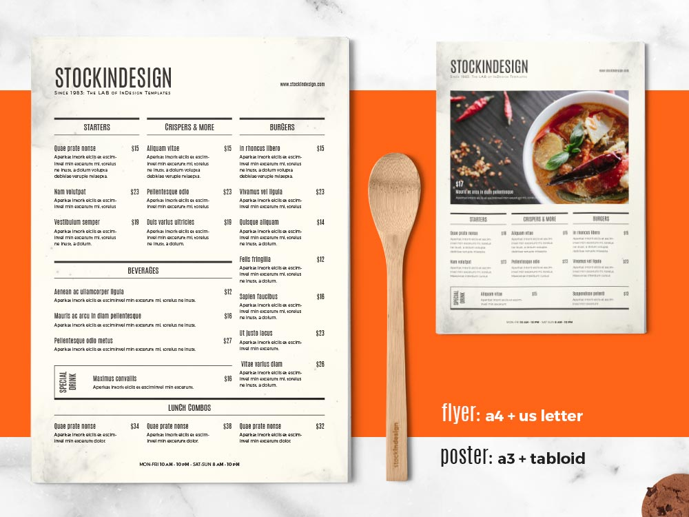 Food Menu Template  A La Carte Menu Template