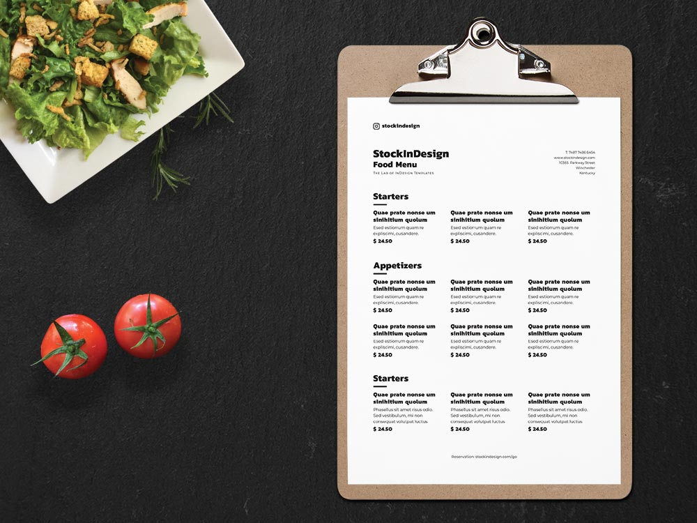 Clean & Simple Food Menu Template